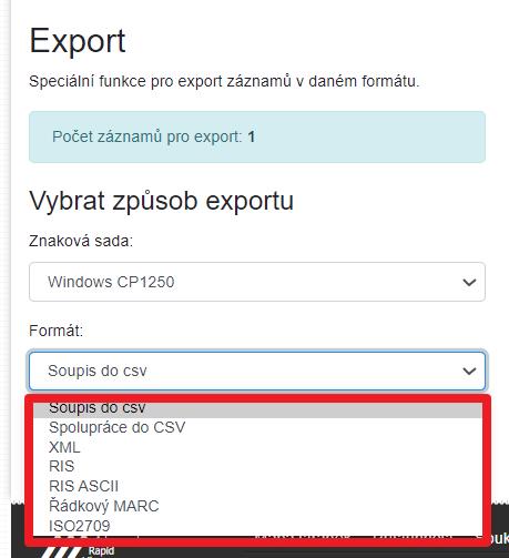 Export - formát