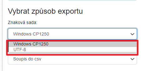 Export - znaková sada