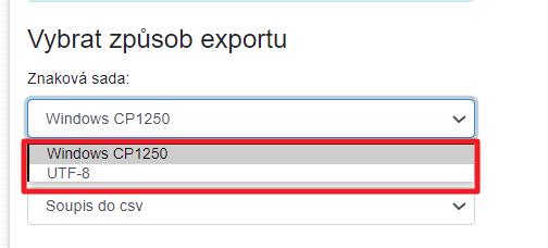 Import CSV - znaková sada
